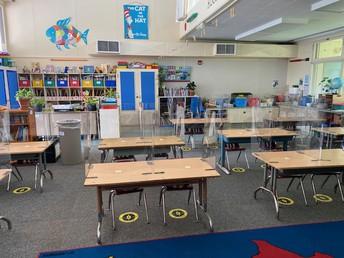 Plastic Partitions at Student Desks