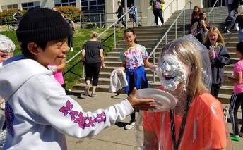 Mrs. Chacon takes a pie!