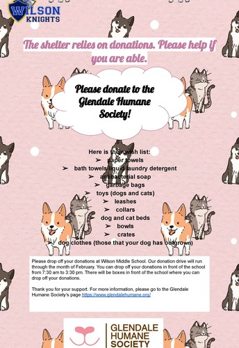Community Service Project-Support the Glendale Humane Society!