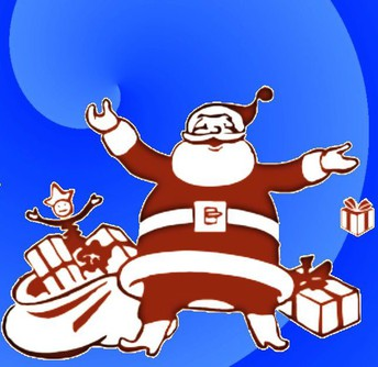 image of santa claus surrounded by toys