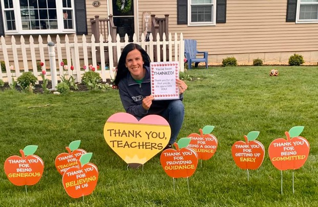 Teachers surprised appreciated for Staff Appreciation Week last week.