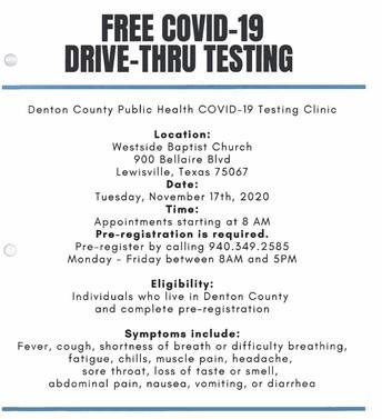 Free COVID-19 Drive-Thru Testing