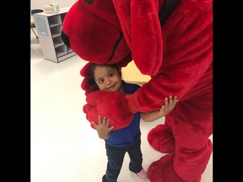 Ashley super excited to hug Clifford!