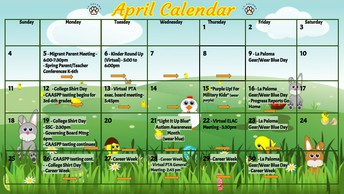Please click on the following link for printable version of the April calendar