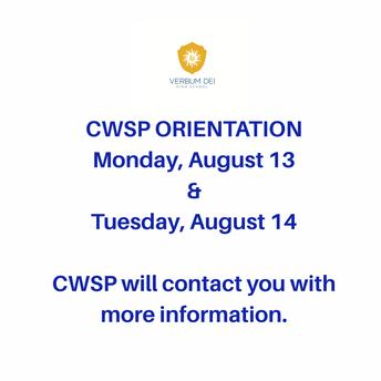 CWSP Orientation!