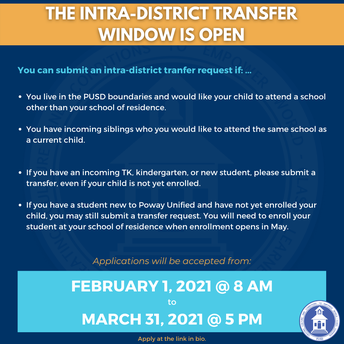 The Intra-District Transfer Window is Open!