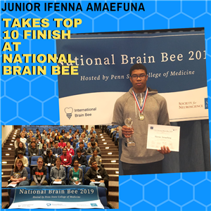 Junior Ifenna Amaefuna Takes Top 10 Finish at National Brain Bee