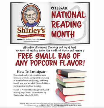 Picture of Shirley's Popcorn Reading Month flyer
