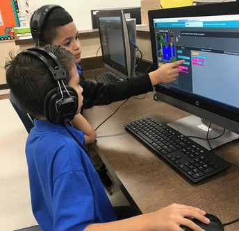 "Students participating in the ""Hour of Code""."