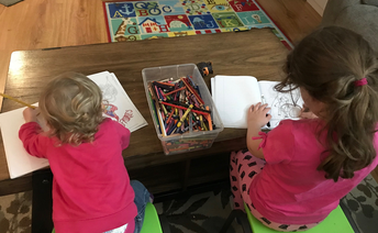 Hannah and little sister enjoy some coloring time together!