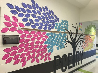 wide angle of student poetry tree on school wall