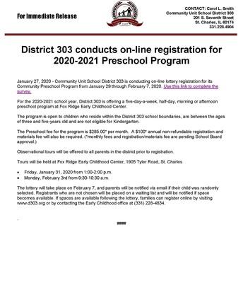 D303 2020-2021 Preschool Program Registration Information