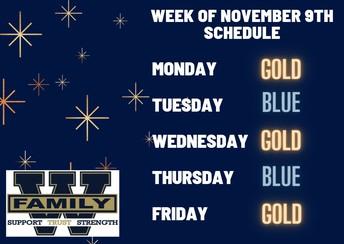 Week of November 9th Schedule