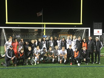 Boys' Soccer Won the Central District Championship in OT v. Dublin Scioto. This was Coach Pence's 3rd district title in his 17 years as head coach of the Warhawks.