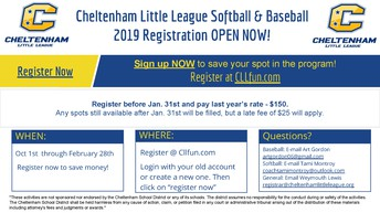 Cheltenham Little League Registration