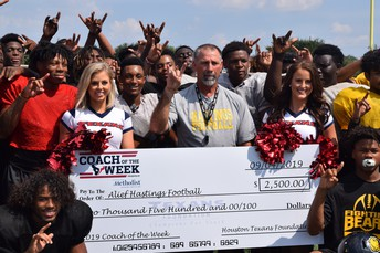 Hastings High School Athletic Coordinator and Head Football Coach David Martel was selected as the Houston Texans Coach of the Week.