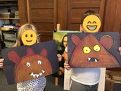 1st grade Chalk Monsters