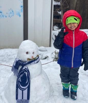 Making a snow man!