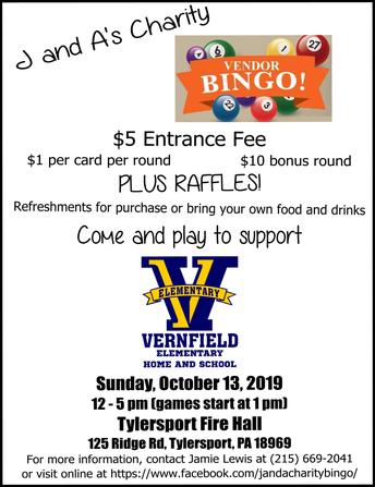 J&A Charity Vendor Bingo to Benefit Vernfield HSA