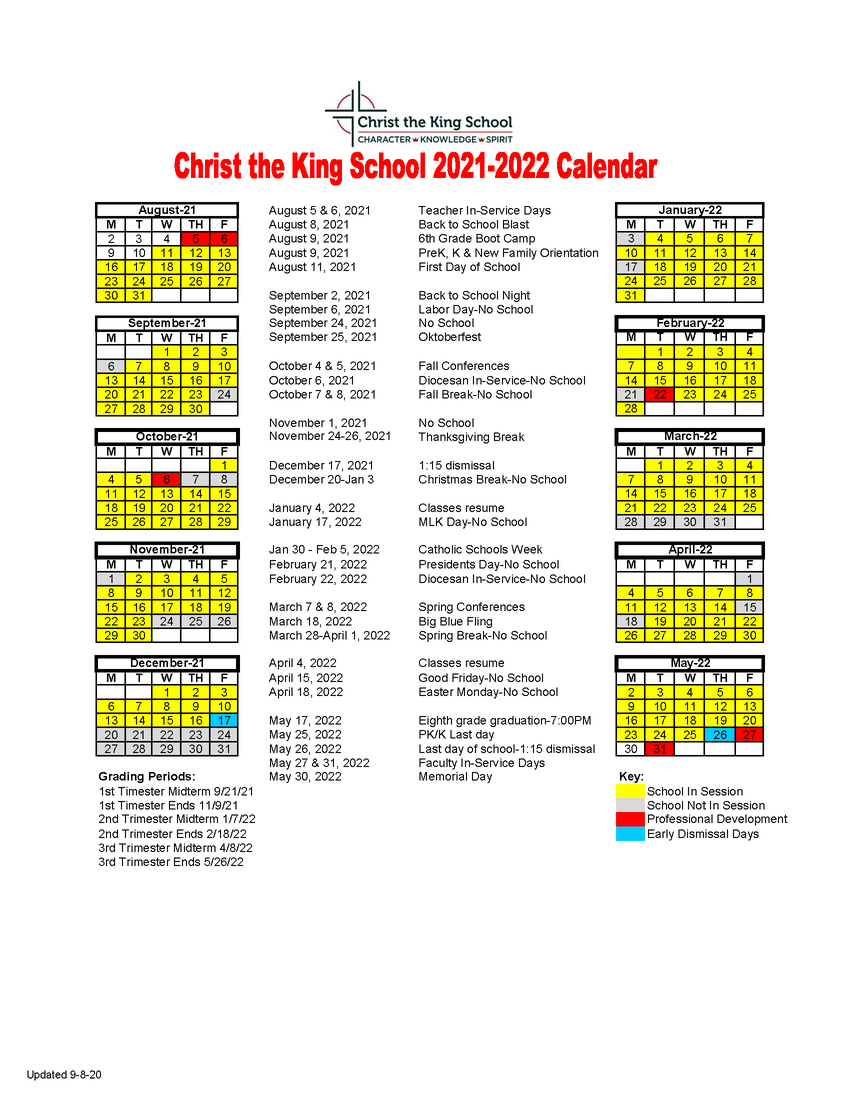 Click for a PDF of the 2021-22 School Calendar