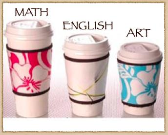 Math, English, Art coffee cups
