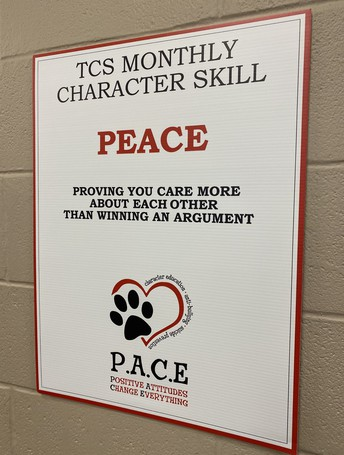 """WALL ART IN HIGH SCHOOL WITH WORD """"PEACE"""""""