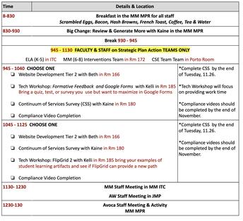 11.26 Staff Institute Schedule