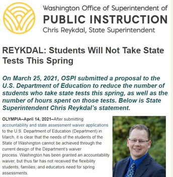 Update on State SBA Testing for 3rd - 5th grade students
