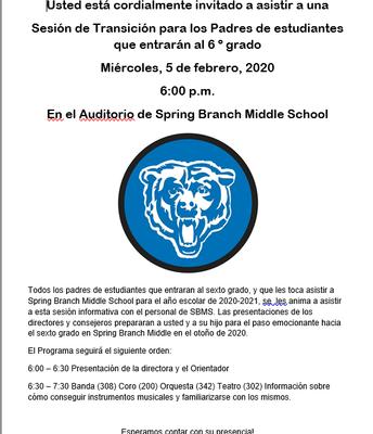 ¡Sesión de padres para los osos del sexto grado del próximo año! 2/5/20