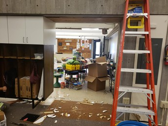 Demolition on Library Cabinets and Walls