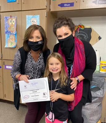 PACE Student with principal and counselor holding certificate