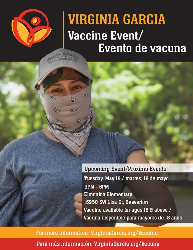Virginia garcia vaccine event flyer