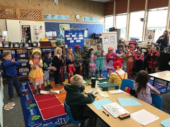 Ms. Bainbridge's K students teaching  2nd graders!