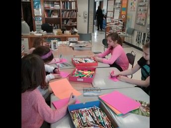 """The """"Kindness Club makes Valentines for local families."""