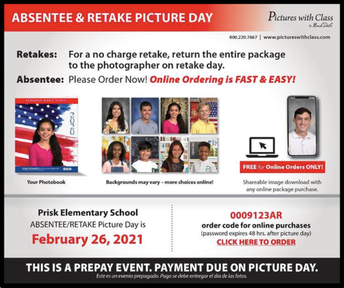 February 26th: Make-up/Retake Picture Day from 10:00am-2:00pm