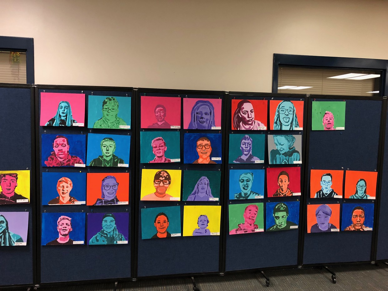 7th grade art selfie display
