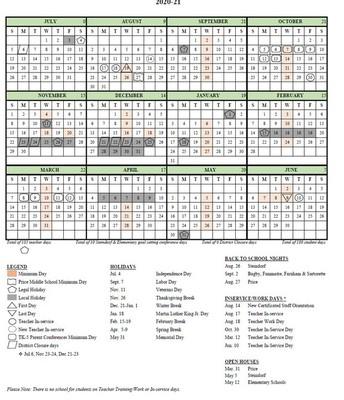 2020-21 District Calendar