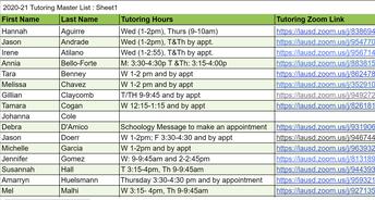Tutoring Schedule