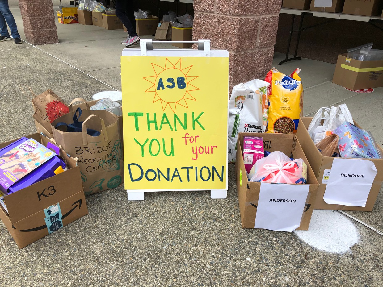 ASB Thank you for your donation sign with donation boxes