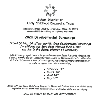 Early Childhood Diagnostic Team conducts screenings for 3-5 year olds