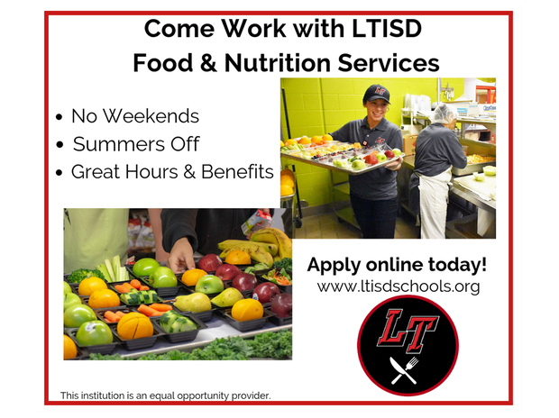 LTISD Food and Nutrition Services hiring ad