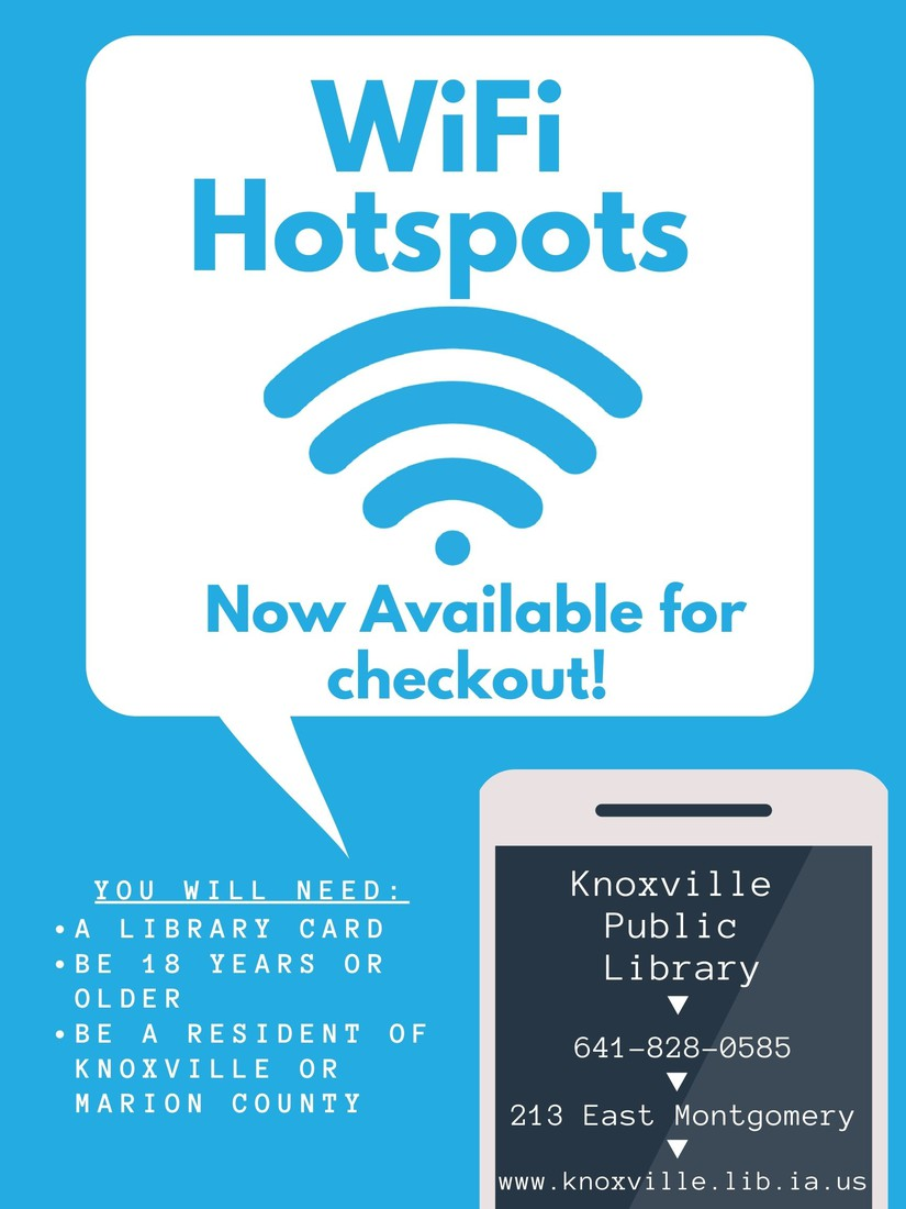 WiFi Hotspots available at our Public Library