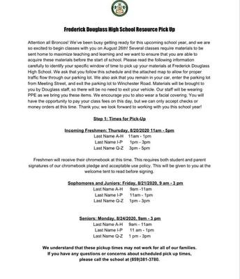 FDHS Resource Pick Up Schedule