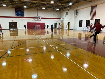 Physically distanced Kick Ball in Physical Education.
