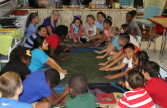 Students at Oak Hammock K8 participate in Daily MeetUp as part of the Sanford Harmony Program