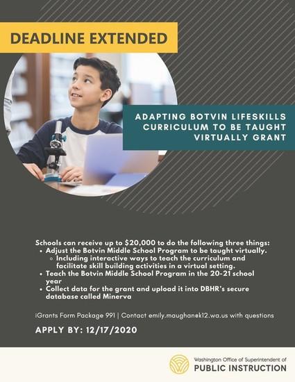 Lifeskills program - apply by 12-17. adapting botniv lifeskills curriculum to be taught virtually grant.