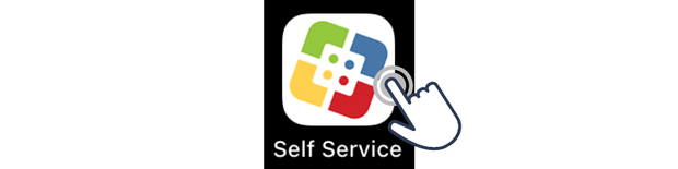 Image of Self Service app with a finger tapping on the app.