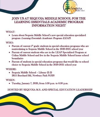 """Sequoia Middle School  """"LEAP"""" Information Night"""