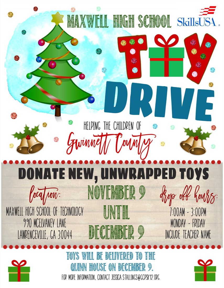 Poster detailing the toy drive service project.