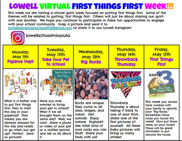 Lowell Virtual First Things First Week